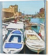 Do-00347 Boats In Byblos Port Wood Print