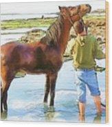 Do-00421 Washing Horse In Mina Wood Print