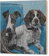 Dobby And Mocha Wood Print