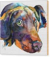 Doberman Watercolor Wood Print by Christy  Freeman