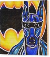Dog Superhero Bat Wood Print