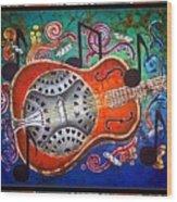 Dobro - Slide Guitar-bordered Wood Print