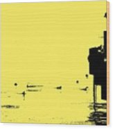 Dock And Ducks Wood Print
