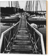 Dock And Sailboats Wood Print