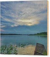 Dock At Shipshewana Lake Wood Print