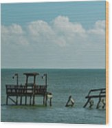 Dock By The Sea Wood Print