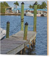 Dock In The Keys Wood Print