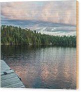 Dock Of The Lake Wood Print