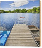 Dock On Lake In Summer Cottage Country Wood Print by Elena Elisseeva