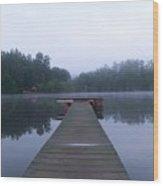 Dock On The Lake Wood Print