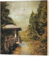 Dock On The Wetlands Wood Print