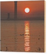 Dock Tower Sunrise Wood Print