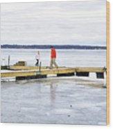 Dock Walking  Wood Print