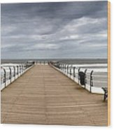 Dock With Benches, Saltburn, England Wood Print