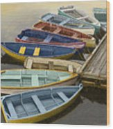 Dock With Colorful Boats Wood Print by Dennis Orlando