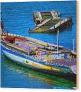 Docked Boat Wood Print