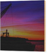 Docked By The Bay-sunset Wood Print