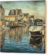 Docked At Pier In Orlieb Beach Nj Wood Print