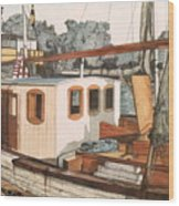 Docked In Stockholm Harbor Wood Print