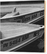 Docked Rowboats Wood Print