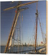 Docked Tall Ship Wood Print