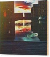 Dockland Sun Down Wood Print