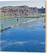 Docks Form Perimeter Of Dierkes Lake In Snake River  Near Twin Falls-idaho  Wood Print