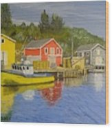 Docks Of Northwest Cove - Nova Scotia Wood Print