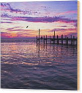 Dockside Sunset Wood Print