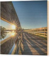Dockside Sunset Wood Print
