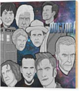 Doctor Who Collage Wood Print by Gary Niles