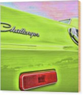 Dodge Challenger In Sublime Green Wood Print