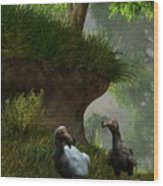 Dodos In The Forest Wood Print