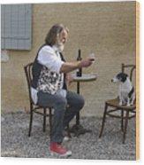 Dog And Master Wood Print