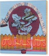 Dog And Suds Wood Print