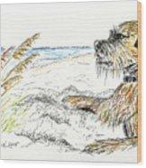 Dog By The Sea Wood Print
