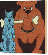 Dog Fight Stand Off Wood Print