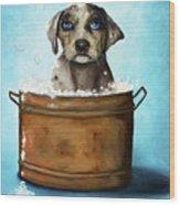Dog N Suds Wood Print by Leah Saulnier The Painting Maniac