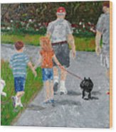 Dog Walkers Wood Print