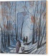 Dog Walking 2, Watercolor Painting Wood Print
