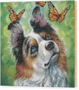 Dog With Butterflies Wood Print