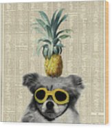 Dog With Goggles And Pineapple Wood Print