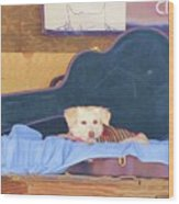 Doggy In The Guitar Case Wood Print