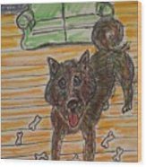 Doggy Snack Time Wood Print
