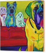 Dogs - Droolers Get The Floor Wood Print by Alicia VanNoy Call