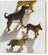 Dogs Figurines Wood Print
