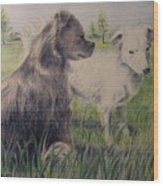 Dogs In A Field Wood Print