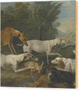 Dogs In A Landscape With Their Catch Wood Print
