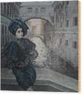 Doll In Venice Wood Print