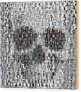 Dolls Skull Mosaic Wood Print